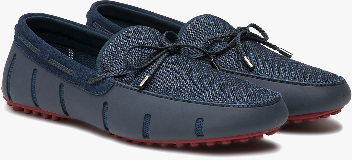 Men's Braided Lace Lux Loafers Blue (Navy/Deep Red)